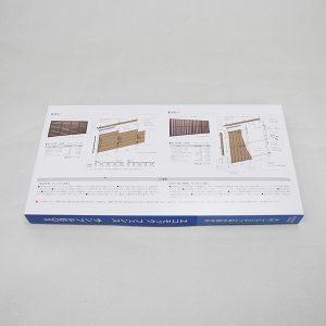人工木材のサンプル用ケース-裏面にはサンプルの詳細を印刷しています